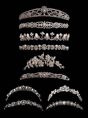 Assorted variety of silver tiaras