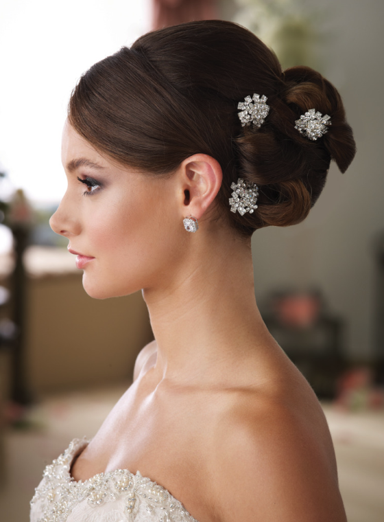 Model wearing small silver hairclips